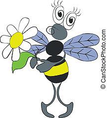 abeja, con, flor, color, 02