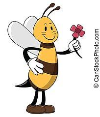 abeja, con, flor