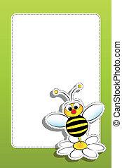 abeja, con, margarita, y, blanco, marco