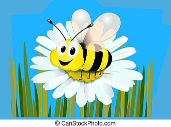 abeja, de, flor