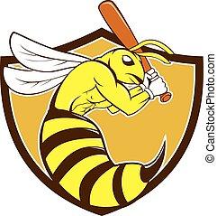 abeja del asesino, jugador, beisball, cresta, caricatura