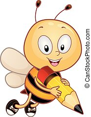 abeja, escribir, ortografía, ilustración, mascota