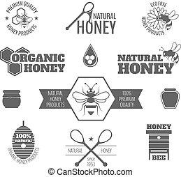 abeja miel, negro, etiqueta