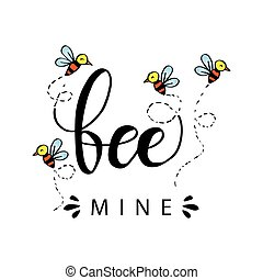 abeja, mina, mano, lettering., amor, concept.
