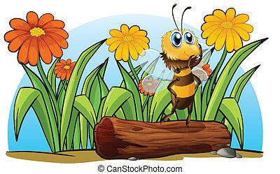 abeja, sobre, tronco