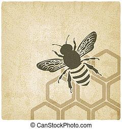 abeja, viejo, plano de fondo
