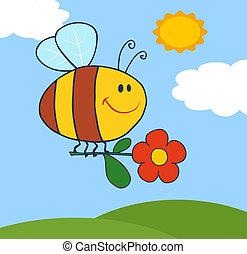abeja, vuelo, con, flor, en, cielo