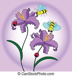 abeja, y, flor