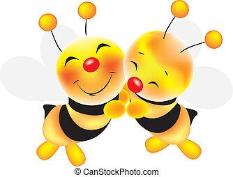 abejas, abrazo, -, ilustración, acción