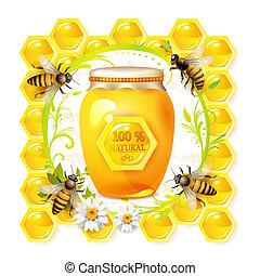abejas, con, tarro de cristal, y, miel