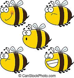 abejas, conjunto, caricatura