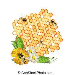 abejas, flores