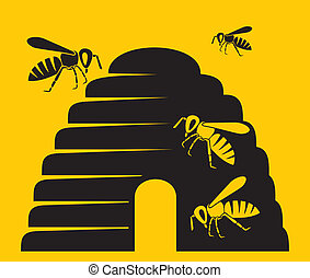 abejas, y, colmena, icono