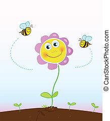 abejas, y, flor