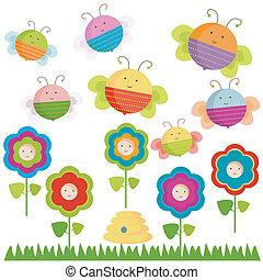 abejas, y, flores