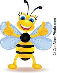abelha, caricatura, polegar cima