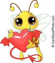 abelha, coração, diabo, segurando, cute