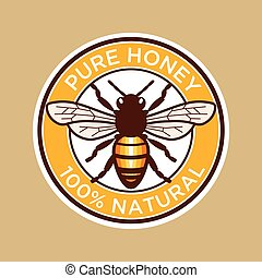 abelha mel, puro, etiqueta
