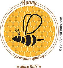 abelha, mel, vetorial, fundo, pente, ícone