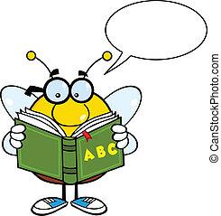 abelha, personagem, rechonchudo, óculos