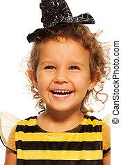 abelha, traje, retrato, menina, listrado, rir