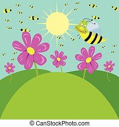 abelhas, prado, trabalhando