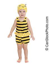 abelhinha, traje, listrado, adorável, menina
