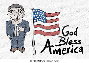 abençoar, deus, mensagem, américa