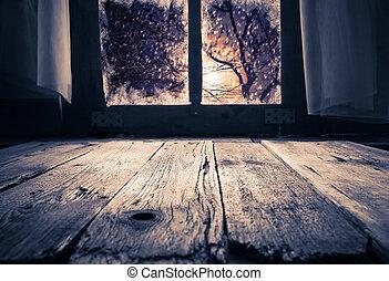 abend, altes , winter, zugewandt, fenster, ländlich, inneneinrichtung, tisch