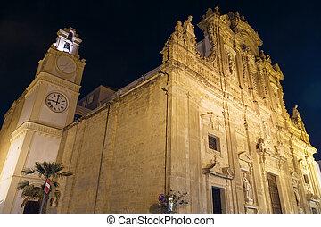 abend, gallipoli, puglia, italien, heilige, agata, cathedral.