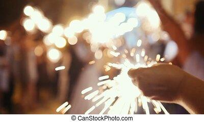 abend, hände, feuerwerk, -, gäste, wedding