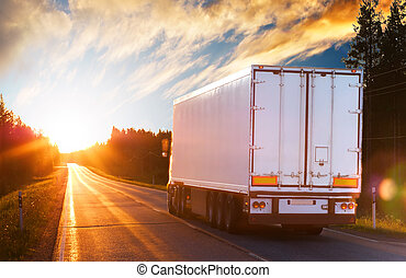 abend, lastwagen, straße, asphalt