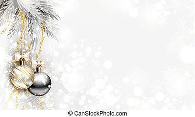 abend, licht, weihnachten, kugeln, hintergrund, silber