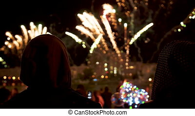 abend, weisen, feuerwerk, leute, nacht, blick, feiertag