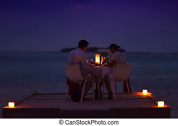 abendessen, draußen, paar, haben, romantische