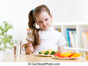 abendessen, seine, ablehnen, kind, essen