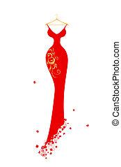 abendkleid, kleiderbügel, rotes