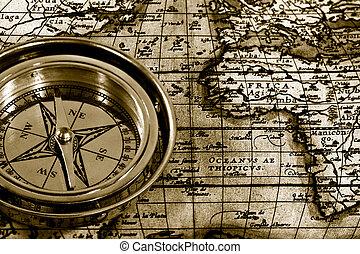 abenteuer, stilleben, mit, retro, marine, kompaß, und, landkarte