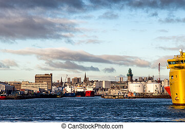 A view of Aberdeen harbour.