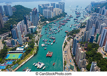 Aberdeen, Hong Kong 12 May 2019: Top down view of Hong Kong fishing harbor port