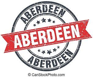 Aberdeen red round grunge vintage ribbon stamp