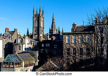 Rooftops of the city Aberdeen, Scotland
