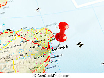 Aberdeen Scotland ,United Kingdom map and pin - Travel concept