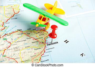 aberdeen, scotland;, storbritannien, karta, airplane