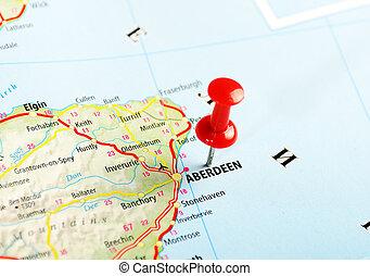 aberdeen, scotland;, storbritannien, karta