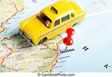 aberdeen, scotland;, storbritannien, karta, taxi