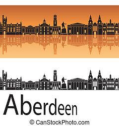 Aberdeen skyline in orange background in editable vector file