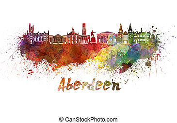 Aberdeen skyline in watercolor splatters with clipping path