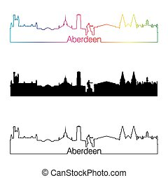 Aberdeen skyline linear style with rainbow in editable vector file