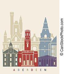 Aberdeen skyline poster in editable vector file